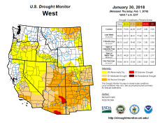 West Drought Monitor January 30, 2018.