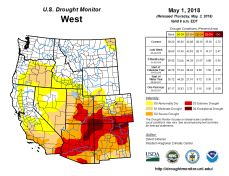 West Drought Monitor May 1, 2018.