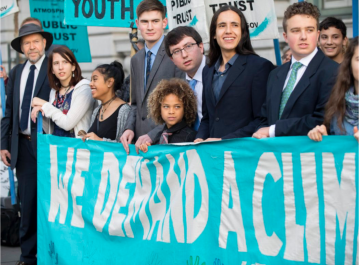 The youth plaintiffs in Juliana v. United States attended the Ninth Circuit hearing in December. Photo credit: Robin Loznak