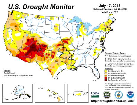 US Drought Monitor July 17, 2018.