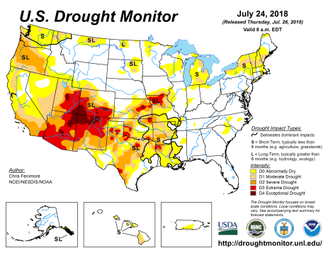 US Drought Monitor July 24, 2018.