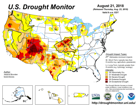US Drought Monitor August 21, 2018.