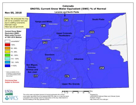 Colorado snowpack map November 5, 2018 via the NRCS.