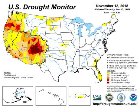 US Drought Monitor November 13, 2018.