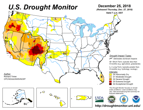 US Drought Monitor December 25, 2018.