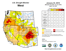 West Drought Monitor January 22, 2019.