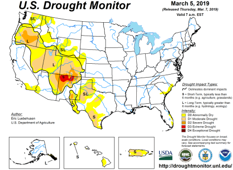 US Drought Monitor March 5, 2019.