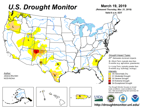 US Drought Monitor March 19, 2019.