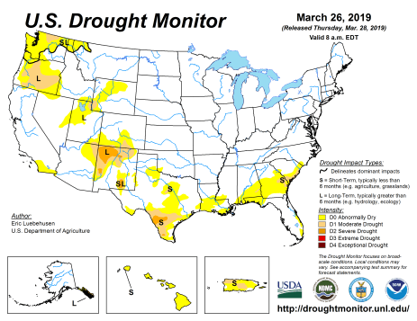 US Drought Monitor March 26, 2019.