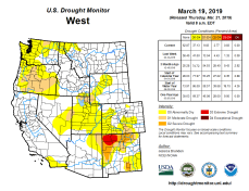 West Drought Monitor March 19, 2019.