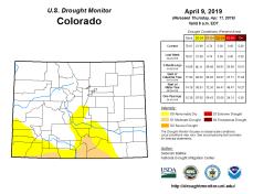 Colorado Drought Monitor April 9, 2019.
