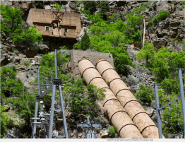 The penstocks feeding the Shoshone hydropower plant on the Colorado River in Glenwood Canyon.