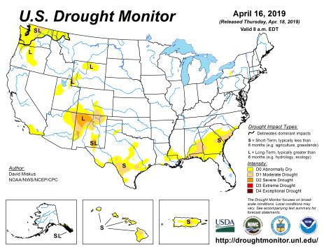 US Drought Monitor April 16, 2019.