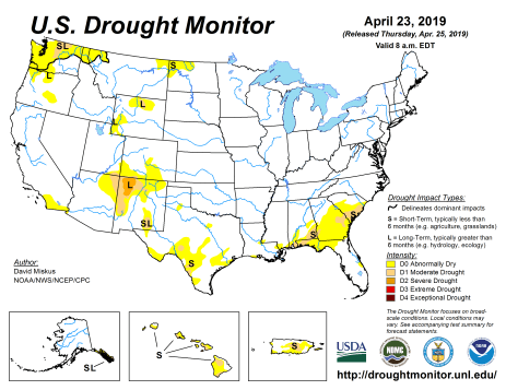 US Drought Monitor April 23, 2019.