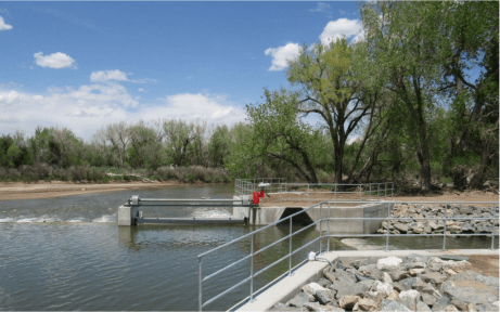 A new type of irrigation diversion structure that uses gates rather than solid walls to dam the river, has been installed on a stretch of the South Platte near Evans. The $3.3 million project modernized the diversion system, restored the river, created a fish passageway and provides future protection from flooding. May 22, 2019 Credit: Jerd Smith