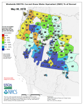 Westwide SNOTEL basin-filled map May 6, 2019 via the NRCS.
