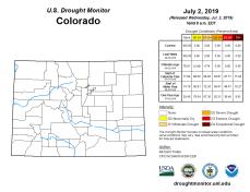Colorado Drought Monitor July 2, 2019.