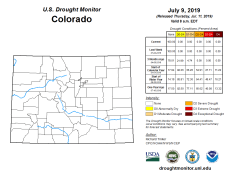Colorado Drought Monitor July 9, 2019.