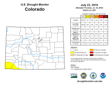 Colorado Drought Monitor July 23, 2019.