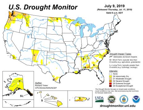 US Drought Monitor July 9, 2019.