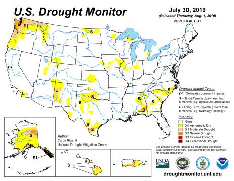 US Drought Monitor July 30, 3019.