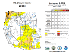 West Drought Monitor September 3, 2019.