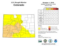 Colorado Drought Monitor October 1, 2019.