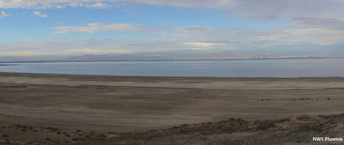 The Salton Sea is California's largest lake, covering 330 square miles, and a major drop along the Pacific Flyway for migratory birds. But it is receding, threatening to create a public health and ecological crisis. By NWSPhoenix - Own work, CC BY-SA 4.0, https://commons.wikimedia.org/w/index.php?curid=56724223