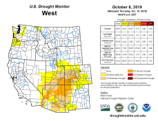 West Drought Monitor October 8, 2019.