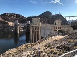 Intake towers for power generation at Hoover Dam December 13, 2019.
