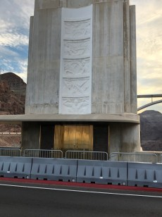 Tower with sculptures of the purpose of Hoover Dam. I love the navigation purpose. Elevator to the interior of the dam is located here.