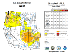 West Drought Monitor December 31, 2019.