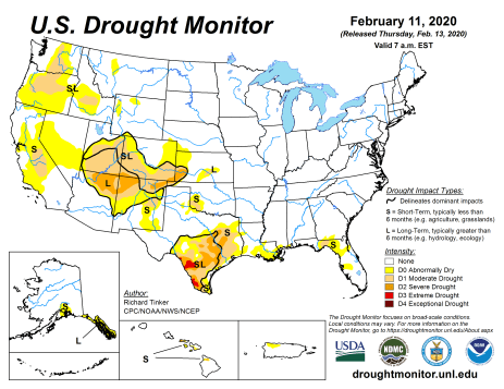 US Drought Monitor February 11, 2020.