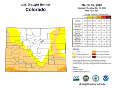 Colorado Drought Monitor March 10, 2020.