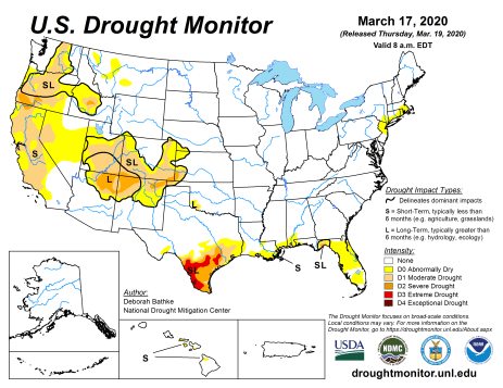 US Drought Monitor March 17, 2020.
