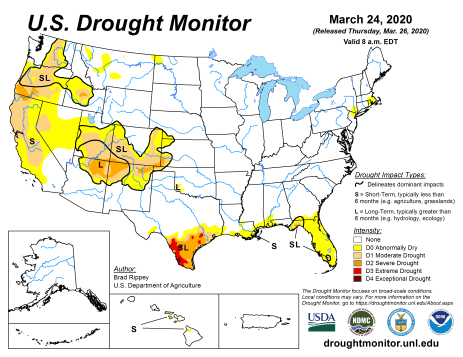 US Drought Monitor March 24, 2020.