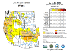 West Drought Monitor March 24, 2020.
