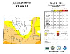 Colorado Drought Monitor March 31, 2020.