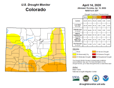Colorado Drought Monitor April 14, 2020.