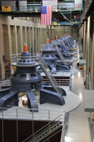 Arizona power house at Hoover Dam December 2019. Each of the 17 hydroelectric generators at Hoover Dam can produced electricity sufficient for 1,000 houses. Photo credit: Allen Best/The Mountain Town News