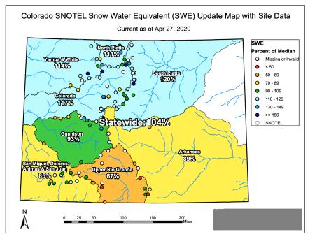 Colorado snowpack basin-filled map April 27, 2020 via the NRCS.