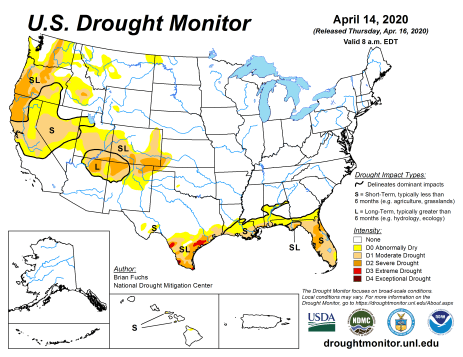 US Drought Monitor April 14, 2020.
