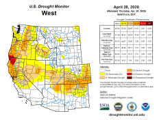 West Drought Monitor April 28, 2020.
