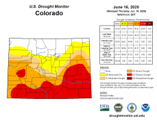 Colorado Drought Monitor June 16, 2020.