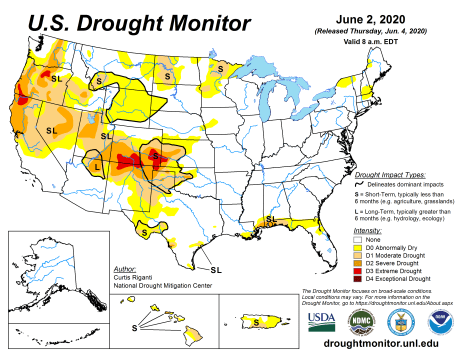 US Drought Monitor June 2, 2020.