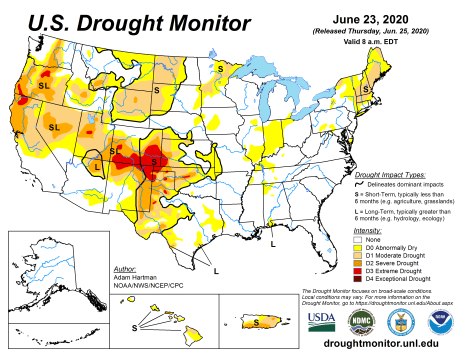 US Drought Monitor June 23, 2020.