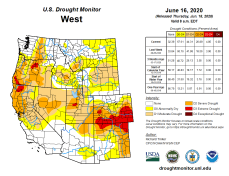 West Drought Monitor June 16, 2020.