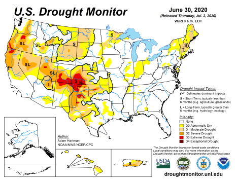 US Drought Monitor June 30, 2020.