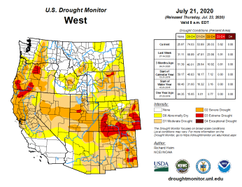 West Drought Monitor July 21, 2020.