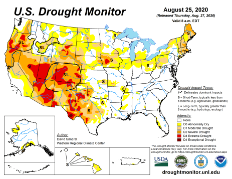 US Drought Monitor August 25, 2020.
